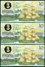 1988 $10.00 Bicentenary without date Johnston/Fraser Second release banknotes. (10, 4 consecutive).