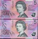 1995 $5.00 Fraser/Evans, 1997 $5.00 Macfarlane/Evans (5, one with