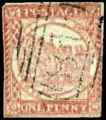 1850 1d Pale Red Plate 1 Sydney View imperf on Hard Bluish paper FU with margins touching in places. The stamp has an overall impression of a double print. Scarce. Sg 5.
