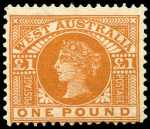 1902 £1 Orange-Brown Queen Victoria mint without gum and centered to base. Sg 128. Catalogue Value $683.00.
