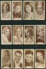 Selection of 79 cigarette cards including Ardath 1934 British Born Film Stars (16), Wills 1913 Popular Flowers Silk (9), 1933 Famous Film Stars Photographic (12) and more. Mainly fine condition with odd duplicate. Catalogue Value $341.00.