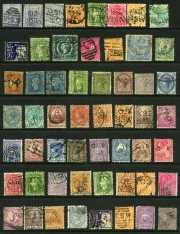 Accumulation of hundreds of mostly used stamps on Hagner sheets with handy items, the odd mint item and some fiscal stamps. Noted NSW 1905 20/- Carrington with A Crown in Circle Wmk perf 12 x 11 FU. Odd fault.