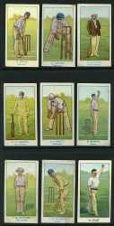 1905-06 Wills W. Bruce, H. Carter, N. Claxton, F.H. Coombe, J.J. Kelly, A. McBeth, P.M. Newland, L.O. Poidevin Australian Club Cricketers and 1903 Wills Hirst Australian and English Cricketer cards. Attractive cards in fine condition with the odd minor blemish.