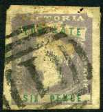 1854-55 6d Lilac and Green Queen Victoria Too Late imperf FU with 4 margins and 2 slight thins. Sg 33. Catalogue Value $420.00.
