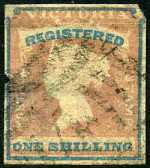1854-55 1/- Rose-Pink and Blue Queen Victoria Registered imperf FU with 4 margins with variety Blue printing slightly misplaced. Faults. Sg 33. Catalogue Value $357.00.