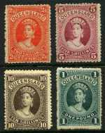 1882 2/6 Vermillion, 5/- Rose, 10/- Brown and £1 Deep Green Queen Victoria Chalons Head issues MLH. Sg 153, 154, 156 and 160. Catalogue Value $1,365.00.