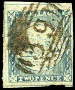 1850 2d Dull Blue Sydney View from worn state of Plate 1 good used with wide margins and outer frame lines on 3 sides, cancelled with No 39 Numeral postmark of Cooma. Sg 18.