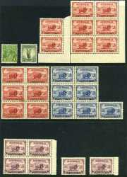 Small selection of mint Pre-Decimal stamps including 1932 1/- Green Lyrebird, 1934 9d Macarthur (6), 1935 2/- Silver Jubilee (2 MUH and 1 MLH), 1936 2d Cable lower right Plate No 4 blocks of 4 (4) and 1936 3d Blue Cable MUH (10). Some faults.