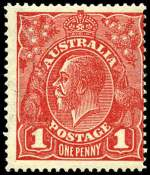 1918 1d Carmine-Red Die II Rough Paper Single Wmk KGV MUH and centered to right.