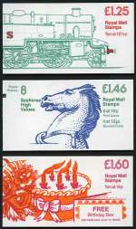1983 £1.25 LMS Class 4P Passenger Tank Engine Railway booklet with corrected rate, 1983 £1.46 Seahorse High Values Postal History booklet with corrected rate and 1983 £1.60
