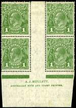 1926 1d Green Small Multiple Wmk perf 14 KGV Mullett Imprint block of 4 from Plate 4 with