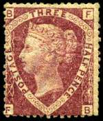 1870 1½d Lake-Red Plate No 3 Queen Victoria MVLH with faint horizontal crease. Sg 52. Catalogue Value $787.00.
