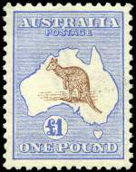 1913 £1 Red-Brown and Blue 1st Wmk Kangaroo well centered. Cereumuga certificate states stamp unused with redistributed gum.
