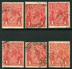 1918 1d Red Die III KGV good to fine used. (10). Includes one with Inverted Watermark and another with White flaw on tip of beard variety.