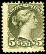 1873-79 5¢ Olive-Green Montreal print Queen Victoria perf 11½ x 12 MUH. Small difficult to detect repair at lower right. Sg 97. Catalogue Value $945.00.