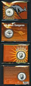 2000 and 2004 RAM $1.00 Kangaroo Silver carded specimen coins and 1988 $1.00 Bicentenary aluminium - bronze Proof coin in presentation case.