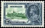 1935 12¢ Green and Indigo Silver Jubilee with variety