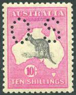 1917 10/- Grey and Deep Aniline Pink 3rd Wmk Kangaroo perforated OS MUH with barely visible bend in lower right corner. Superbly centered.