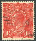 1924 1�d Scarlet Single Wmk KGV with Substituted clich� (deformed right frame) variety fine used. The cancellation, although light, has caused two tiny cuts at centre left, which are only visible on the reverse. ACSC 89(15)ib. Catalogue Value $750.00.