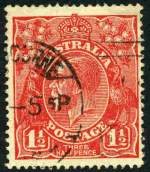 1924 1�d Scarlet Single Wmk KGV with Cracked electro variety fine used. ACSC 89(23)q. Catalogue Value $150.00.