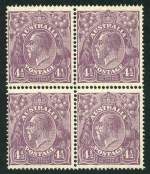 1927 4�d Violet Small Multiple Wmk perf 14 KGV block of 4 lightly hinged on top units and lower units MUH. Top left unit with unlisted variety Break in left frame, similar in appearance to ACSC 118ua. Centered to left.