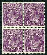 1928 4�d Violet Small Multiple Wmk perf 13� KGV mint block of 4. Top left and lower right units MUH. Lovely fresh appearance and reasonably centered.