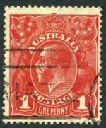 1916 1d Scarlet-Red Single Wmk KGV with