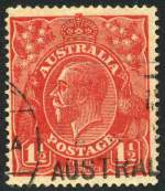 1924 1�d Scarlet Single Wmk KGV with Moustache flaw - additionally with cracked electro variety fine used. ACSC 89(15)ia. Catalogue Value $750.00.