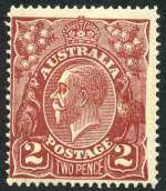 1924 2d Red-Brown Single Wmk KGV with Right frame largely missing - with additional vertical crack variety MLH and centered to left. Spectacular and grossly under catalogued variety. ACSC 97(16)ha.