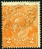 1920 2d Orange Single Wmk KGV with Cracked electro through base of left wattle - State II, further crack through base variety FU and centered to lower left. Light crease in top right corner. ACSC 95(3)ga. Catalogue Value $250.00.