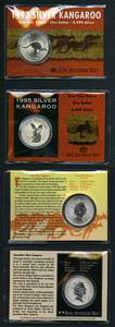 1993, 1995, 1996, 1997 and 1998 RAM $1.00 Kangaroo Silver carded specimen coins. Retail $260.00.