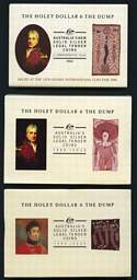 1988, 1989 and 1990 The Holey Dollar & The Dump proof sets in presentation folders. Retail $165.00.