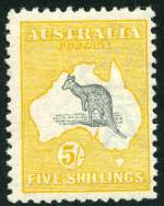 1913 5/- Grey and Yellow 1st Wmk Kangaroo MLH and centered to right with few blunt perfs.