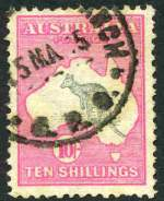 1913 10/- Grey and Pink 1st Wmk Kangaroo used with shortish perfs.