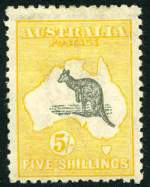 1918 5/- Grey and Yellow 3rd Wmk Kangaroo mint hinged and centered to base with Broken coast near Sydney and break in right frame 3.5mm from top variety. One short perf at base. ACSC 44(D)d.