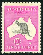 1917 10/- Grey and Deep Aniline Pink 3rd Wmk Kangaroo mint hinged with Broken coast near Sydney variety. Short perfs at base.