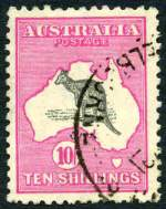 1917 10/- Grey and Pink 3rd Wmk Kangaroo FU and well centered with few shortish perfs.