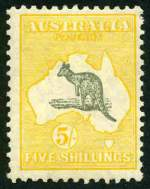 1929 5/- Grey and Yellow Small Multiple Wmk Kangaroo MVLH and centered to right.
