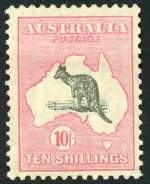 1929 10/- Grey and Pink Small Multiple Wmk Kangaroo MLH and reasonably well centered.