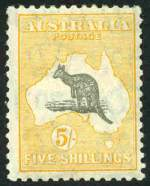 1932 5/- Grey and Yellow C of A Wmk Kangaroo MLH and centered to right, with Broken coast near Sydney and Spencer's Gulf elongated variety. ACSC 46(D)f.