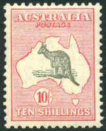 1932 10/- Grey and Pink C of A Wmk Kangaroo MUH and centered high.