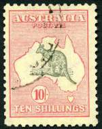 1932 10/- Grey and Pink C of A Wmk Kangaroo VFU and well centered.