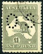 1924 £1 Grey 3rd Wmk Kangaroo perforated OS CTO by Melbourne GPO postmark with gum. Centered to left with usual rough perfs. Very scarce as most high values from collectors packs or presentation sets were overprinted Specimen.