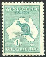 1913 1/- Emerald 1st Wmk Kangaroo MVLH and centered to left.