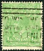 1918 �d Green Large Multiple Wmk KGV GU with Cracked electro - second state, left wattles to forearm of kangaroo variety. Lower right corner with crease. Scarce. ACSC 65(5)ha. Catalogue Value $600.00.