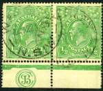 1915 �d Green Single Wmk KGV Electro 1 JBC monogram marginal pair FU. Monogram unit with few short perfs at top left. Scarce. ACSC 63(1)z.