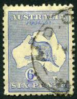 1915 6d Ultramarine Die IIA Substituted Cliche 3rd Wmk Kangaroo good used with short perfs. A presentable copy. Rare. ACSC 19ea. Catalogue Value $1,250.00.