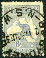 1921 6d Bright Ultramarine Die IIB 3rd Wmk Kangaroo with Broken leg on kangaroo variety used. Heavy Sydney cancellation, just clear of variety and some short perfs. A presentable copy. Rare. ACSC 20d. Catalogue Value $750.00.