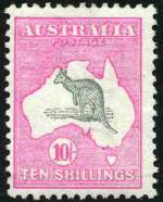 1913 10/- Grey and Pink 1st Wmk Kangaroo MVLH and centered to left. Lovely fresh colour.