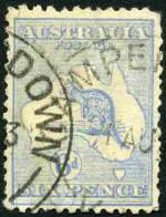 1921 6d Bright Ultramarine Die IIB 3rd Wmk Kangaroo with Broken leg on kangaroo variety good used. Postmark well clear of variety. Small tear at top left and some short perfs. A presentable copy. Rare. ACSC 20d. Catalogue Value $750.00.